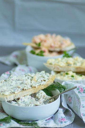 Rezept Dreierlei Aufstrich: Forellencreme, Eiersalat, Paprika-Feta-Creme