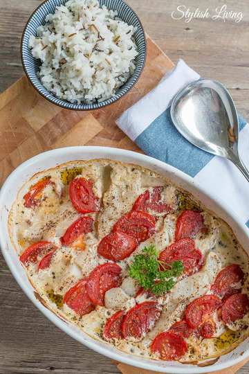 Rezept Easy Peasy Ofenkabeljau mit Kräutern und Tomaten
