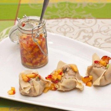 Rezept Enten Dim Sum mit Pfirsichsalsa
