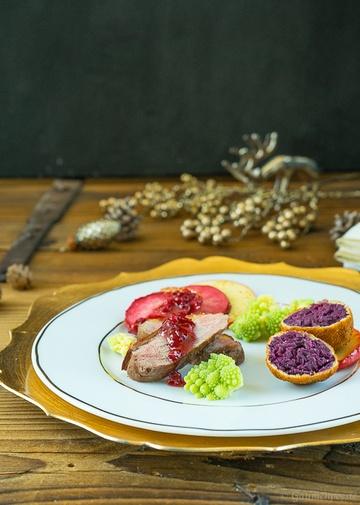 Rezept Entenbrust mit gebackenen Rotkohlknödeln
