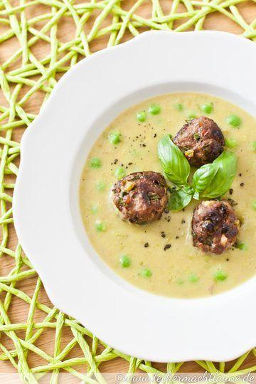 Rezept Erbsen-Kokos-Suppe mit Fleischbällchen
