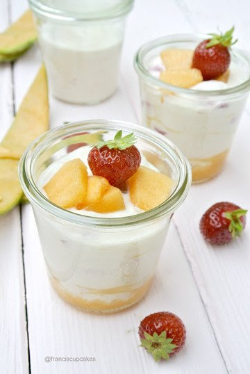 Rezept Erdbeer-Honigmelonen-Quark Dessert