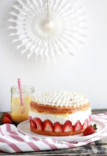 Rezept Erdbeer Mascarpone Torte mit Lemon Curd