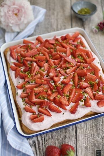 Rezept Erdbeer-Quark-Blechkuchen
