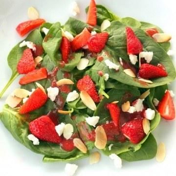 Rezept Erdbeer Spinat Salat mit Ziegenkäse