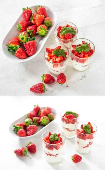 Rezept Erdbeeren mit Pistazien Minzpesto auf Vanille Quark Creme