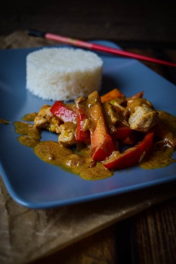 Rezept Erdnusssauce mit Gemüse und Reis