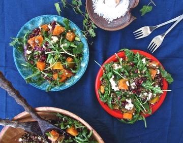Rezept Fabelhafter Linsensalat mit Butternut, Granatapfel und Rucola