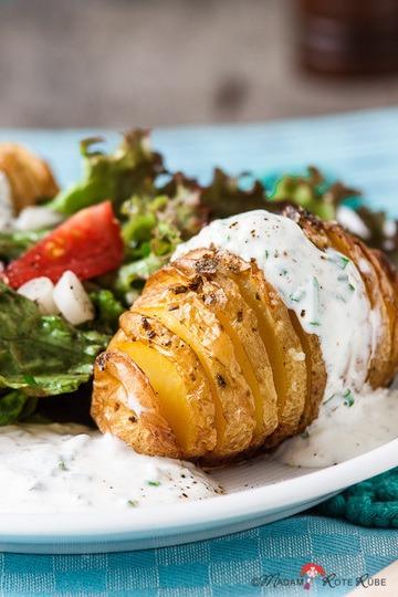 Rezept Fächer-Ofenkartoffel mit Kräuterquark