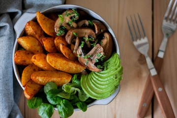 Rezept Feierabend-Bowl mit Wedges & Balsamico-Pilzen