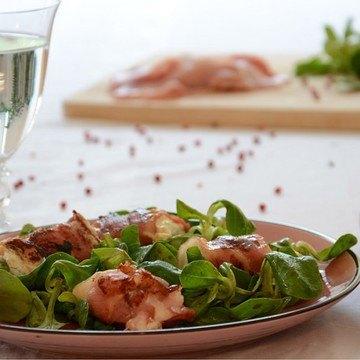 Rezept Feldsalat mit Ziegenkäse in Speck