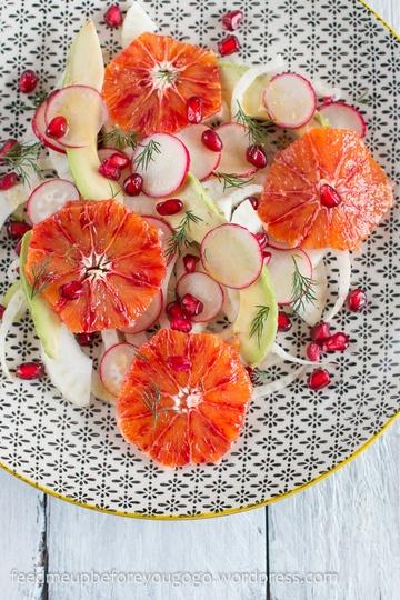 Rezept Fenchel-Blutorangen-Salat mit Avocado, Granatapfel und Dill