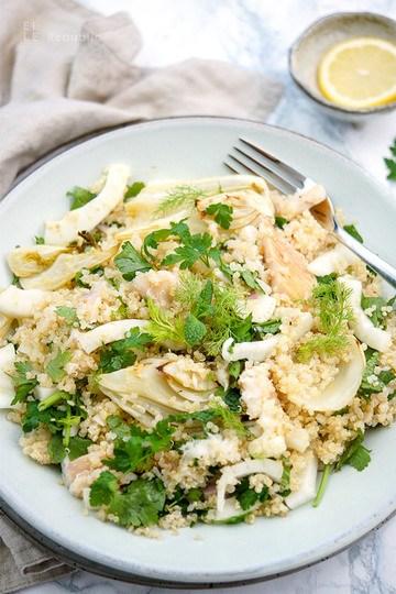 Rezept Fenchelsalat mit Forelle und Quinoa