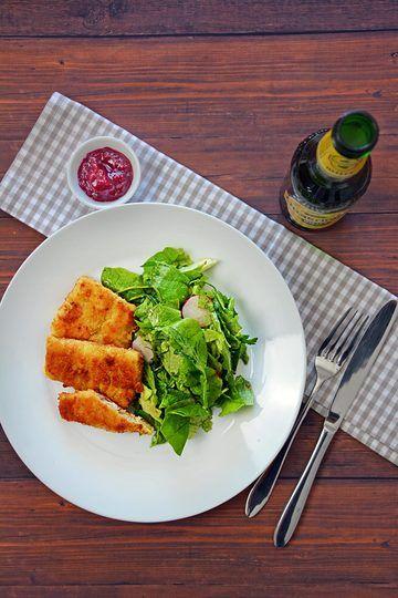 Rezept Fisch in Senfkruste mit grünem Salat