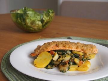 Rezept Fischfilet in Senfkruste auf Mangold-Kartoffelgemüse