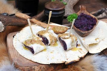 Rezept Fischreiherbrust mit Rheinischem Rotkohl in der Weizentortilla