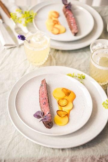 Rezept Flank Steak mit zweierlei Kartoffeln, Rouille und einem Lavendelsalz