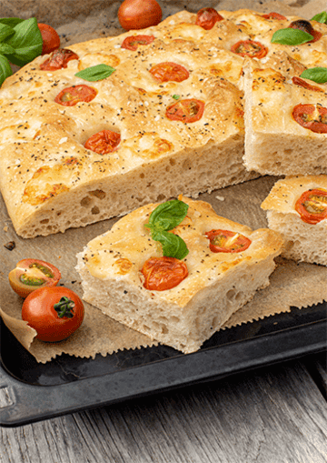 Rezept Focaccia mit Tomaten und Mozzarella
