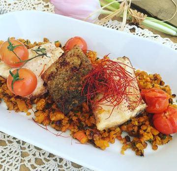 Rezept Forellenfilet auf Kürbis-Curry Linsen