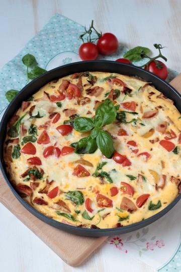 Rezept Frittata mit Pfifferlingen, Tomaten und Spinat