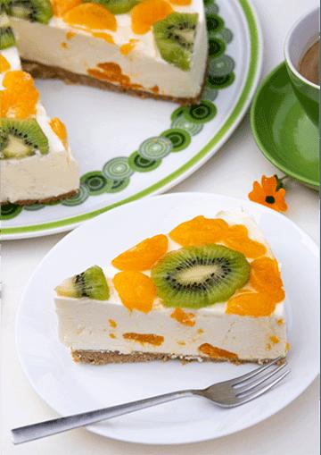Rezept Fruchtige Frischkäsetorte mit Mandarinen und Kiwi (no bake)