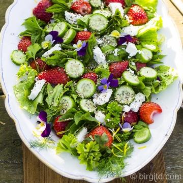 Rezept Frühlingsfrischer Salat mit Fenchel, Erdbeeren, Schafskäse, Chia-Samen & mehr