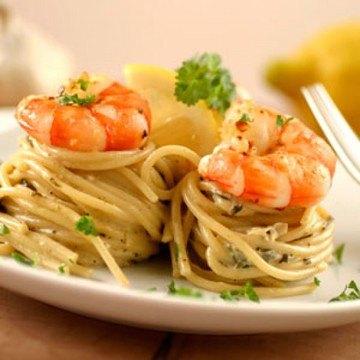 Rezept Garnelen auf Zitronen-Spinat-Pasta