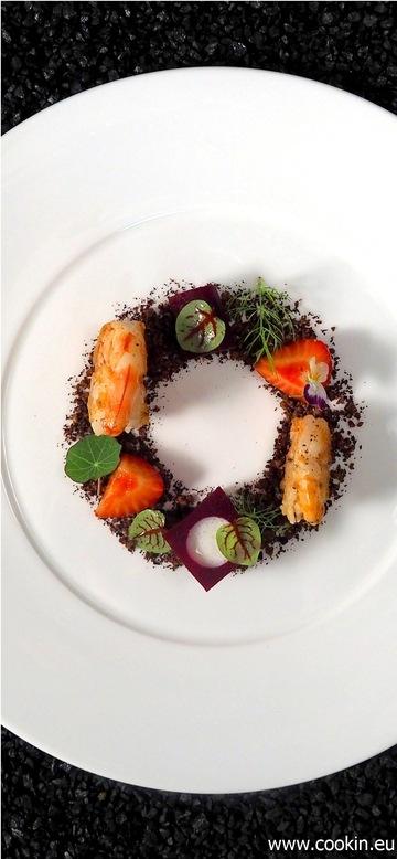 Rezept Garnelen, Erdbeere und rote Beete, Schwarzbrot und Buttermilch
