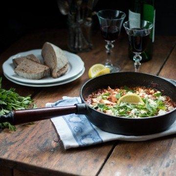 Rezept Garnelen in Rotwein & Olivenöl Tomatensugo