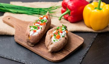 Rezept Gebacken und gefüllt: Süßkartoffel mit Gemüse-Quark