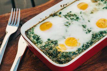 Rezept Gebackene Eier mit Spinat und Pilzen - vegetarisch frühstücken