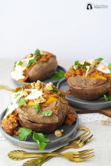 Rezept Gebackene Ofen-Süßkartoffel-Kumpir mit würziger Linsen-Füllung