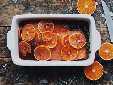 Rezept Gebeizter Lachs mit Blutorangen und Martini