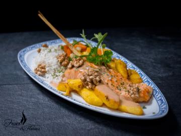 Rezept Gebratener Lachs und Ananas an Traubensauce