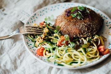 Rezept gebratener Pilz an Zucchini Spaghetti