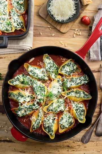 Rezept Gefüllte Muschelnudeln mit Ricotta und Spinat