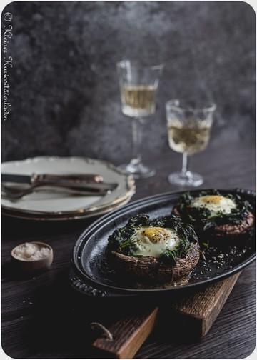Rezept Gefüllte Portobellopilze mit Spinat und Ei