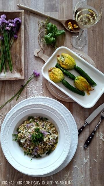 Rezept Gefüllte Zucchini- Blüten und dazu ein Kräuter- Risotto