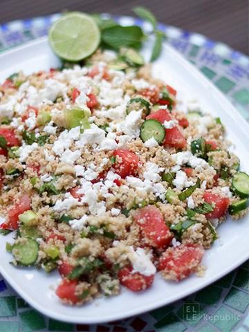 Rezept Geminzter Couscous Salat mit Wassermelone und Mini Gurken