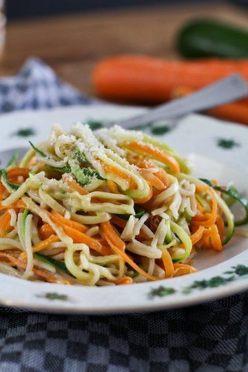 Rezept Gemüse Nudeln: Zucchini Möhren Nudeln kochen
