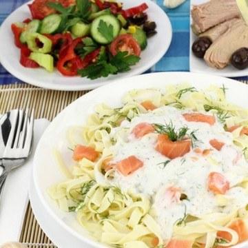 Rezept Gemüse Penne mit Lachs und Shrimps