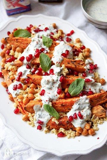 Rezept Geröstete Süßkartoffeln und Kichererbsen mit Hirse und Kräuterjoghurt