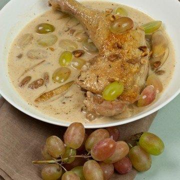 Rezept geschmortes Huhn mit dreierlei Trauben
