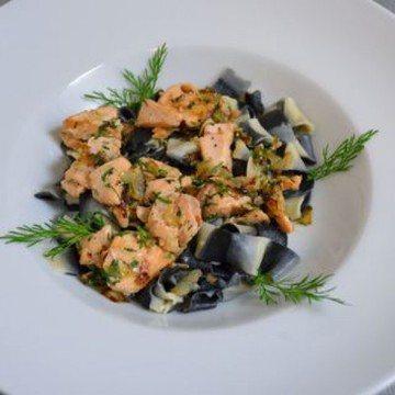 Rezept Gestreifte Pasta mit Lachs