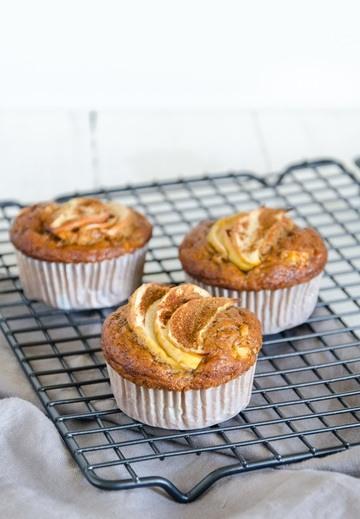 Rezept gesunde Apfel-Bananen Muffins