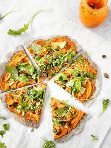 Rezept Gesunde, vegane Kürbispizza mit glutenfreiem Boden