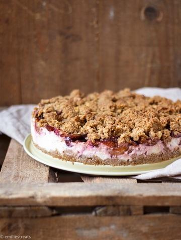 Rezept Gesunder Pflaumenkuchen-Cheesecake mit Streuseln