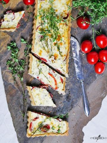 Rezept Glutenfreie Tomatentarte mit Ziegenkäse und Thymian
