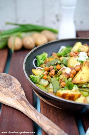Rezept Grüne Gemüsepfanne mit Bratkartoffeln