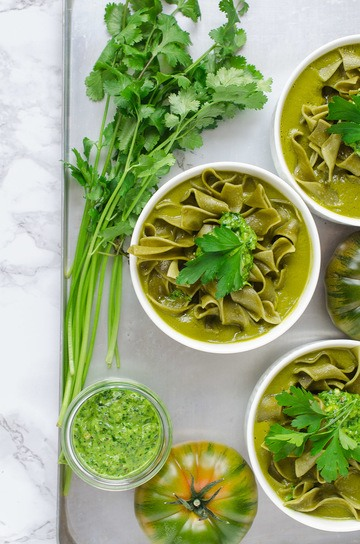 Rezept Grüne Pasta-Suppe